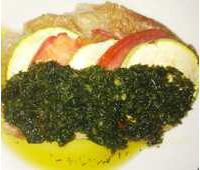 """Свинина с овощами под соусом """"Песто"""" 130 г."""